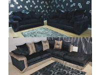 UK EXPRESS DELIVERY | DINO CRUSHED VELVET 3+2 SEATER SOFA OR CORNER WITH FOOTSTOOL SOFA