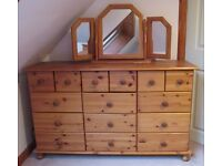 Pine Bedroom Furniture Set, Dressing Table, Wardrobe, two chest of drawers, two bedside cabinets