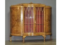 Attractive Large Vintage Walnut Bow Front Display Cabinet Bookcase, Carved Legs