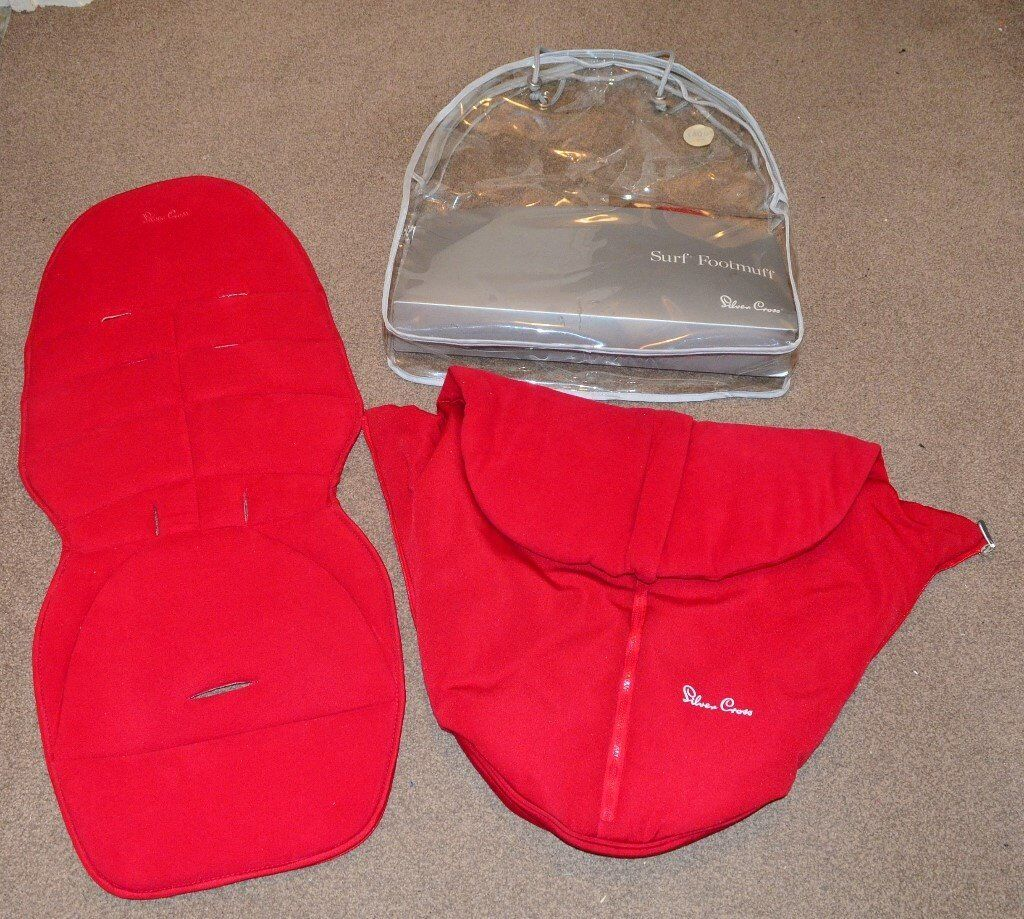 Red Silver cross surf footmuff cosytoes with original bag