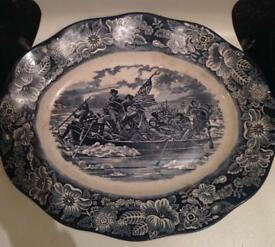 Old porcelain oval plate liberty blue