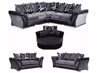 **NEXT DAY DELIVERY**FREE CUSHIONS/POUFFE+CHROME FEET NEW DFS SHANNON CORNER/3+2 SOFA CUDDLE CHAIR