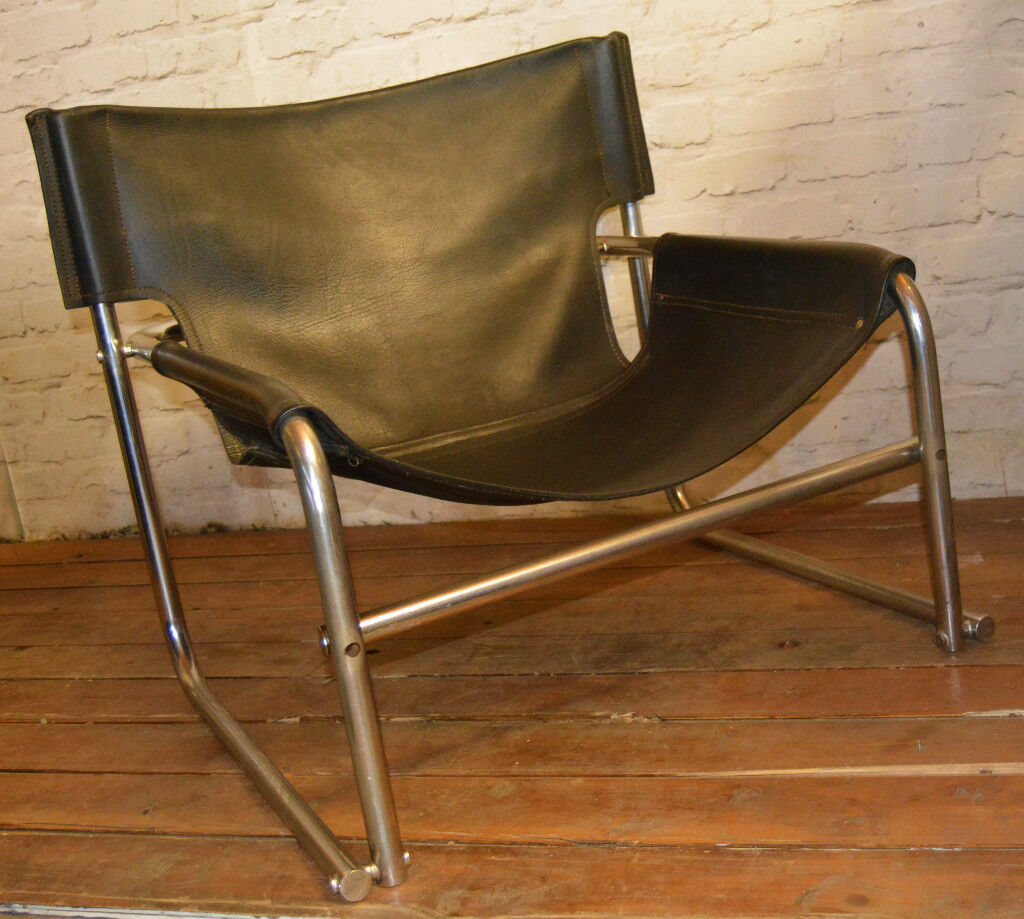 Mid Century Vintage Rodney Kinsman OMK T1 Sling Leather Chrome Chair Lounge  Retro Old Armchair