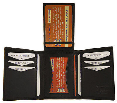 AG Wallets MENS Slim Leather Trifold Wallet Center Flap 2 ID Card holder (Leather Slim Flap)