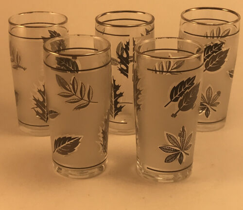 5 Libby Silver Leaf Frosted Juice Glass Vintage- 2 Sets Available EUC - $15.00