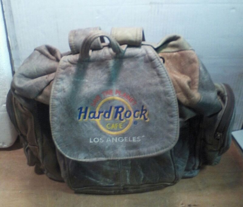 Hard Rock Cafe Los Angeles Save The Planet Leather Backpack Gray and Brown
