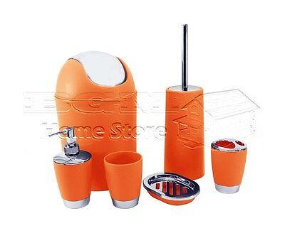 accessoire de salle de bain orange 6pc set culbuteur lotion brosse wc poubelle - Poubelle Salle De Bain Orange