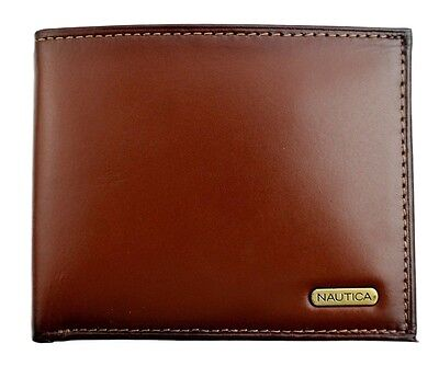 New Nautica Mens Premium Leather Credit Card Id Wallet Billfold Tan 31Nu22x023