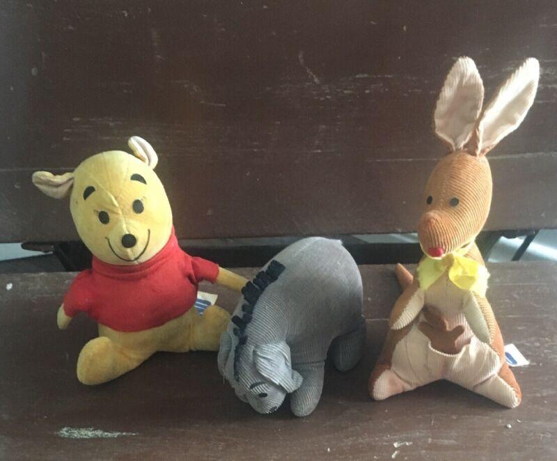 Vintage Winnie the Pooh Doll Eeyore,  Kanga & Roo  Wood Chip Filled Japan  GUND