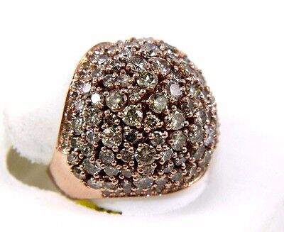 Fine Round Cluster Brown Diamond Dome Cigar Fashion Band 14k Rose Gold 6.00Ct