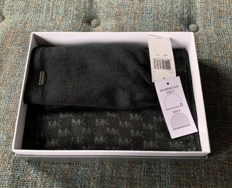 Nib Michael Kors Scarf And Hat Set Mens One Size Reversible Hat Black BB5