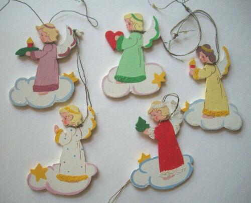 5 Painted wood Angel Christmas ornament Scandinavian?