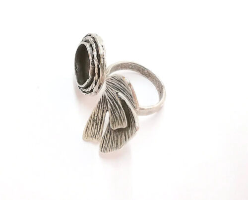 Flower Silver Ring Setting Blank Cabochon Ring Mounting Adjustable Brass G21098
