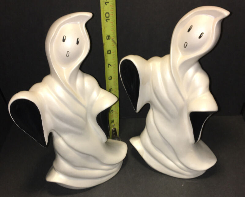 """Pair of Vintage HALLOWEEN GHOST Ceramic Figurine 12"""" Unique!  See All Pictures"""
