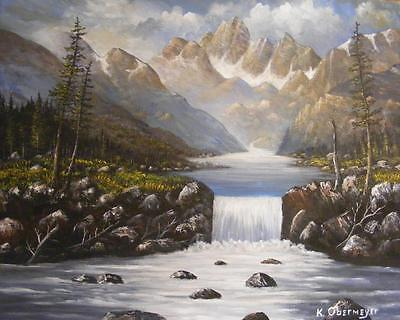 Original Landscape Painting Rocky Mountain High Country Stream   Waterfall Art