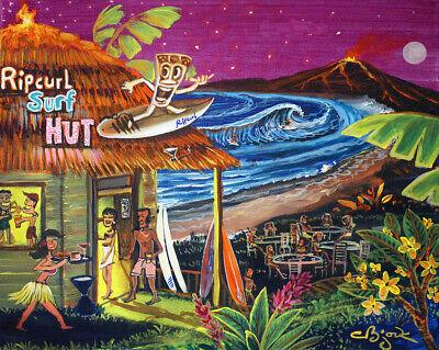 Ripcurl Surf Hut Surfing Tiki Hula Lounge Bar Motel Hawaiian Kitsch CBjork PRINT