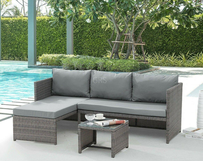 Garden Furniture - Rattan Garden Furniture Sofa Set Grey Brown Patio Outdoor Corner Lounge L-Shape