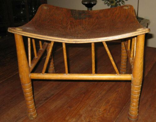 Rare Arts & Crafts SIGNED Larkin Liberty-style Thebes Stool Egyptian Revival Oak