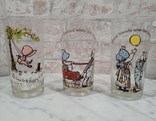 1970's HOLLY HOBBIE Drinking Glass Set Of 3 Vintage