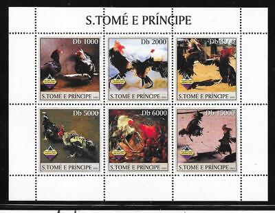 "St.Thomas & Prince Islands  #11491 ""Fighting Roosters "" sheet of 6 (MNH) CV$9.00"
