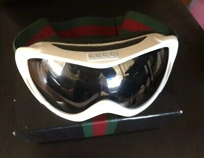 100% AUTHENTIC GUCCI GOGGLES WITH GREEN AND RED STRIPE WITH BOX WHITE (White Gucci Goggles)