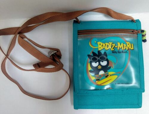 """Vtg Sanrio Badtz Maru Hits Beach Cross Body Bag Purse Surf Green Brown Canvas 7"""""""