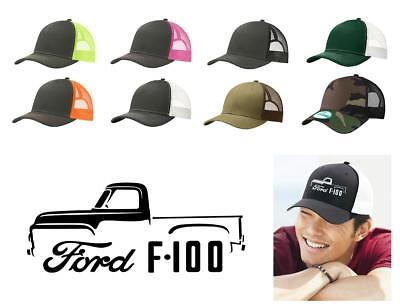 1953 Ford F100 Pickup - 1953-56 Ford F100 F-100 Pickup Truck Color Outline Design Trucker Hat Cap