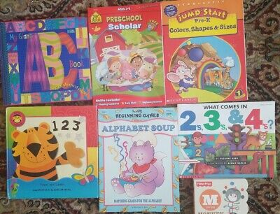 7 PRESCHOOL LEARNING  BOOKS  board ABCs+ 123 books 4 other activity books