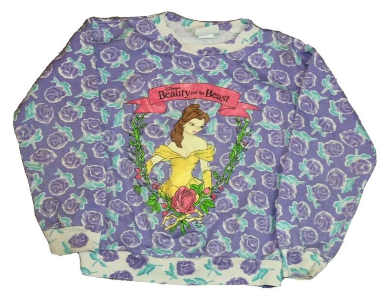 Vintage 90s Disney Beauty and the Beast Youth Sweatshirt Size 10/12