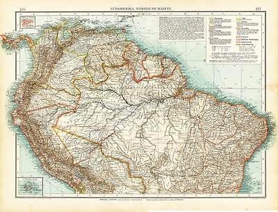 Antique Map-SOUTH AMERICA-BRAZIL-ECUADOR-GALAPAGOS ISLANDS-SURINAM-Andree-1904