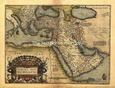 A1 Large Old Saudi Arabia Turkey Turkish Empire Middle East Vintage Antique Map