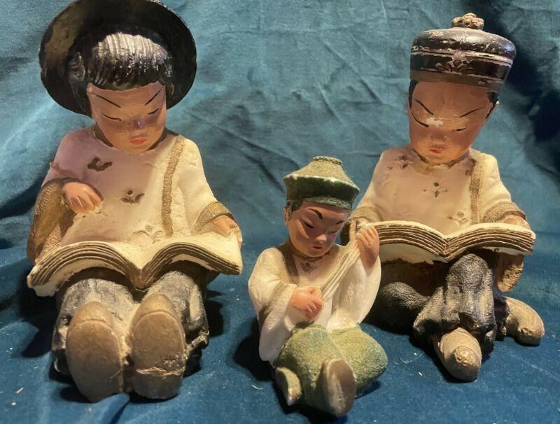 Vintage Chalkware Oriental Asian Boy Girl Figures Mid Century 1950s