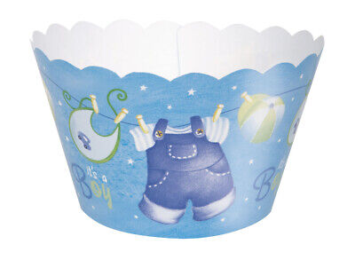 Baby Shower Blue Cupcake Wrappers Clothesline Decoration Party Supply (Baby Shower Clothesline)