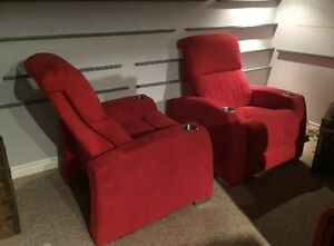 2 x Red Power Theater Seats - Recliners - AC + Battery Operated