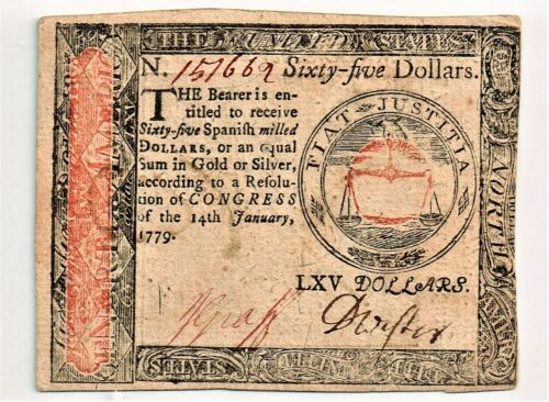 Continental Currency January 14, 1779 $65. Choice AU.