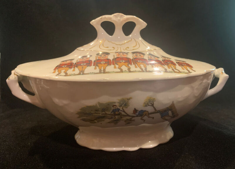 """Palmer Cox BROWNIES Porcelain TST&CO. Child's Toy Covered Casserole 7.5""""x5.5"""""""