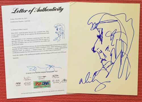 PSA LOA signed ALICE COOPER autographed HAND-DRAWN SELF PORTRAIT on Card Stock
