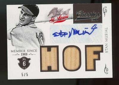2014 Panini Classics Membership Stan Musial 5/5 Auto Autograph Game Used Bat