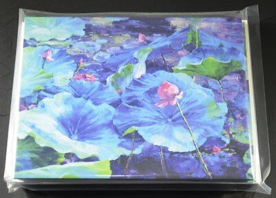 Beautiful NOTE CARDS, featuring a Lotus Pond in Bloom, 8 cards with -
