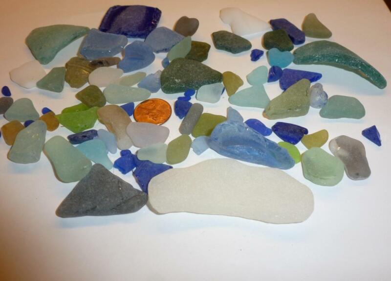 Genuine Real Beach Surf Tumbled Sea Glass Cobalt Blues, Green, Lt Blues+MORE