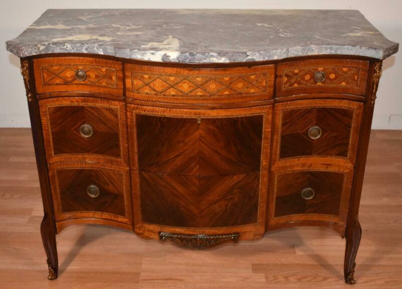 1890 Antique French Louis XV Walnut & Satinwood Marble Dresser chest of drawers