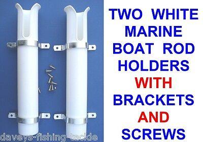 2 SINGLE WHITE MARINE BOAT ROD HOLDERS+FIXING KIT SEA FISHING STORAGE REST STAND