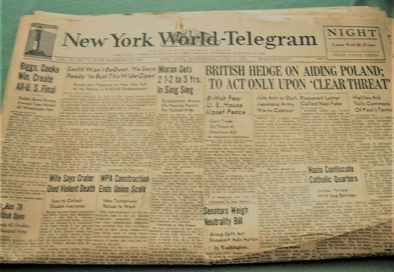 Nazis Hit Catholic Site British Hedge On Poland -1939 WWII Paper - 84 Yrs. Old - $4.99