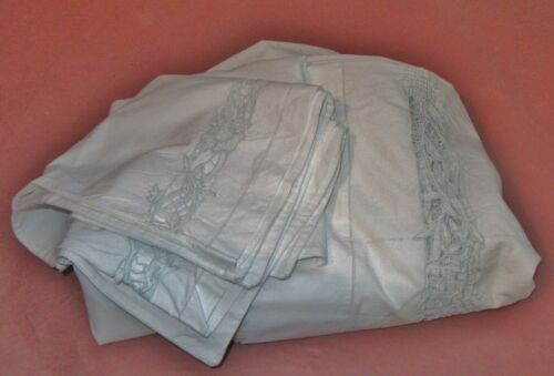Antique French Large Linen Sheet + 2 Pillowcases Embroidered Cutwork Trousseau