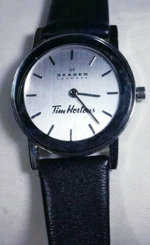 Skagen Tim Hortons Watch Steel Silver Case Black Leather Band Prsk1020 Women New