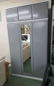 Triple Grey Wardrobe + Top Box