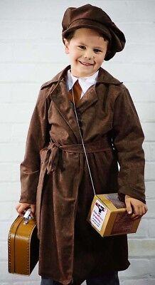1940's-School-Wartime BOYS BROWN COAT, CAP, GAS MASK BOX & BROWN SUITCASE - Box Boy Kostüm