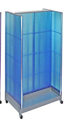 Blue Neon Plastic Pegboard Floor Display H Unit On Wheeled Base 36w X 66 H
