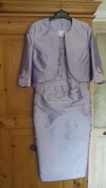 Stunning Wedding Event Dress & Bolero Jacket in pastel lilac. Size 10-12.