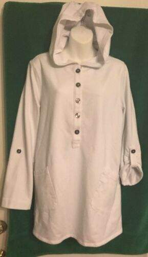 Susan Graver Weekend Hooded Pullover Pockets White Cotton Blend Size Large